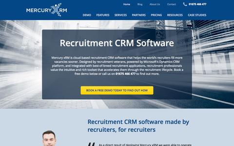 Screenshot of Home Page mercuryxrm.co.uk - Recruitment CRM Software - Mercury xRM - captured Oct. 6, 2014