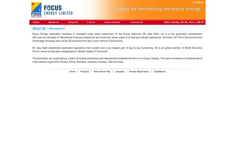 Screenshot of Team Page focusenergy.co.in - Focus Energy Ltd. - About Us - Management - captured Oct. 6, 2014