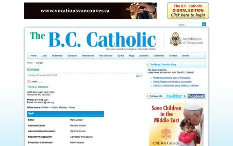 Screenshot of Contact Page bccatholic.ca - The B.C. Catholic Paper - Contact - captured June 9, 2016
