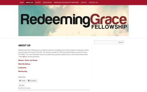 Screenshot of About Page redeeminggracefellowship.org - About Us | Redeeming Grace Fellowship - captured Dec. 19, 2016