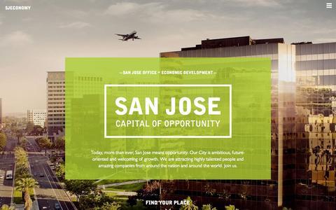 Screenshot of Home Page sjeconomy.com - San Jose Office of Economic Development - City of San Jose - captured June 18, 2015