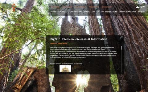 Screenshot of Press Page ventanainn.com - Big Sur Hotel News   Ventana Press Room   Ventana - captured Jan. 16, 2016
