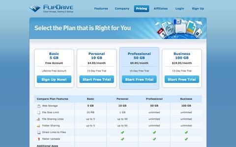 Screenshot of Pricing Page flipdrive.com - FlipDrive.com — Free Secure Online File Storage, Internet File Sharing, Photo & Video Sharing, Music Online, Store & Access Documents, Share Files Online, Online Data Backup - captured Oct. 31, 2014