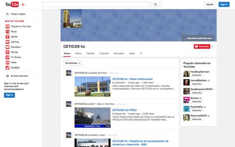 Screenshot of YouTube Page youtube.com - CETICOS Ilo  - YouTube - captured Oct. 22, 2014