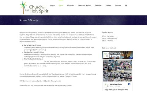 Screenshot of Services Page chscapetown.org - Church of the Holy Spirit (CHS)   –  Services & Worship - captured Nov. 10, 2018