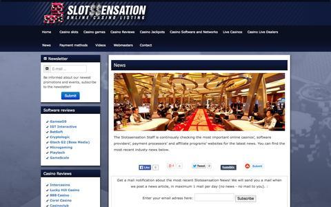 Screenshot of Press Page slotssensation.com - News - captured Sept. 30, 2014