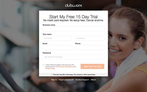 Screenshot of Signup Page Trial Page clubworx.com - Clubworx - captured May 6, 2017