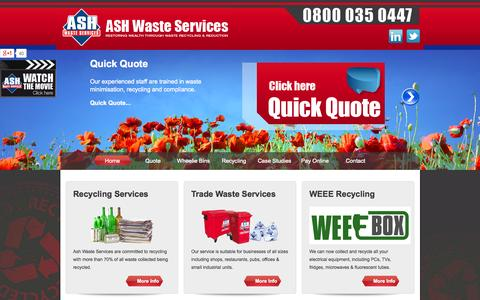 Screenshot of Home Page ashwasteservices.co.uk - Waste Management - Chester, Wrexham, Liverpool - Trade Waste - captured Oct. 4, 2014