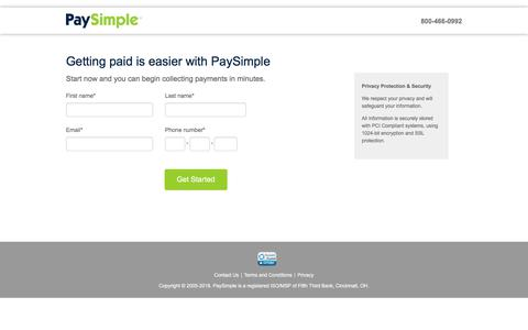 Screenshot of Signup Page paysimple.com - PaySimple Signup - Get Started Now - captured May 11, 2018