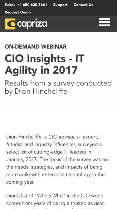 CIO Insights - IT Agility in 2017 | Capriza