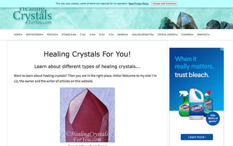 Screenshot of Home Page healing-crystals-for-you.com - Discover The Healing Power Of Crystals, Pictures & Info On Healing Crystals - captured Sept. 24, 2018