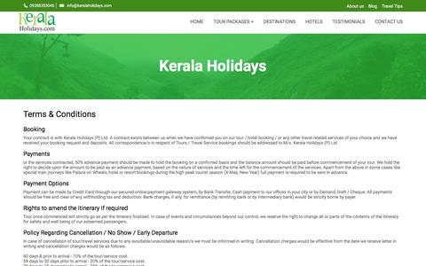 Screenshot of Terms Page keralaholidays.com - Terms And Conditions Kerala Holidays | Leading Tour Operator In Kerala India - captured Oct. 17, 2017