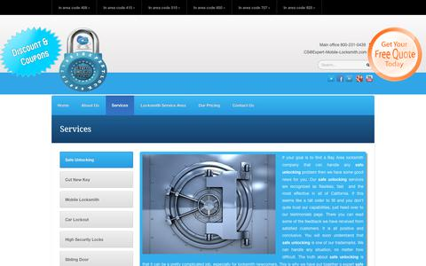 Screenshot of Services Page expert-mobile-locksmith.com - Services - Expert Mobile Locksmith   800-231-0439   Expert Mobile Locksmith   800-231-0439 - captured July 13, 2018