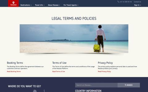 Screenshot of Terms Page nezasa.com - Legal terms of Nezasas travel platform - Nezasa Travel - captured June 17, 2015