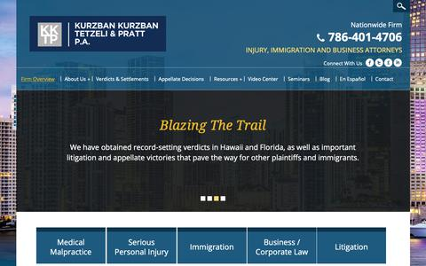 Screenshot of Home Page kktplaw.com - Serious Injury Attorneys   Immigration Attorney   Medical Malpractice Lawyers Miami - captured Oct. 16, 2018
