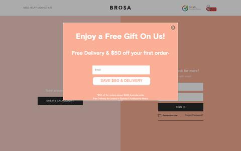 Screenshot of Login Page brosa.com.au - Sign In | BROSA - captured Aug. 1, 2018
