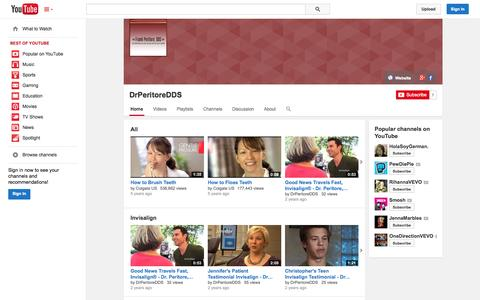 Screenshot of YouTube Page youtube.com - DrPeritoreDDS  - YouTube - captured Oct. 24, 2014