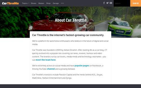 Screenshot of About Page carthrottle.com - About Car Throttle - Car Throttle - captured July 19, 2014