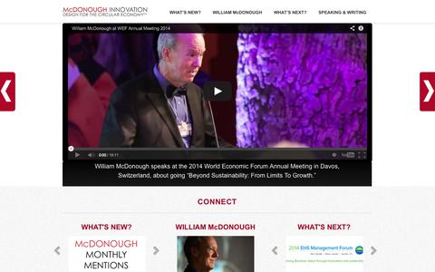 Screenshot of Home Page mcdonough.com - William McDonough - Waging Peace Through Commerce - captured Oct. 6, 2014