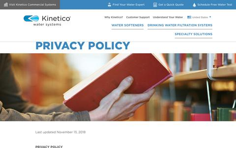 Screenshot of Privacy Page kinetico.com - Privacy Policy | Kinetico Water Systems - captured Dec. 20, 2018