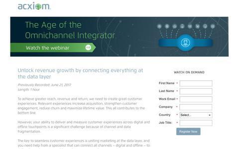 Screenshot of Landing Page acxiom.com - On-Demand Webinar! Introducing Age of the Omnichannel Integrator - captured June 30, 2017