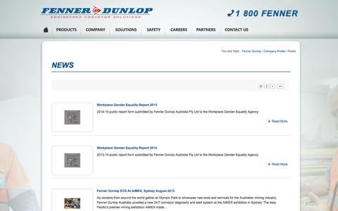 Screenshot of Press Page fennerdunlop.com.au - Fenner Dunlop Conveyor Services - captured Nov. 25, 2016