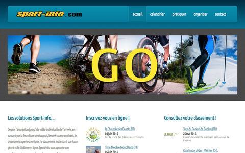Screenshot of Home Page sport-info.com - Sport Info - Chronométrage et services - captured May 27, 2016