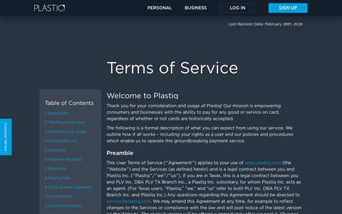 Screenshot of Terms Page plastiq.com - Terms of Service | Plastiq - captured April 20, 2018