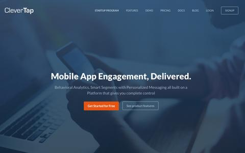 Screenshot of Home Page clevertap.com - CleverTap | Mobile App Analytics and Engagement Platform - captured Feb. 29, 2016