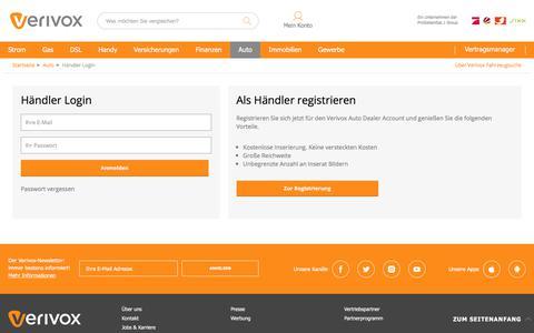 Screenshot of Login Page verivox.de - Verivox Auto Händler Login - captured Sept. 5, 2019