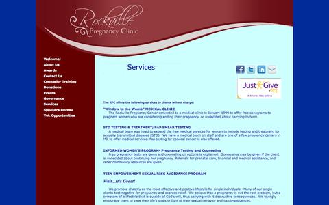 Screenshot of Services Page rockvillepregnancyclinic.org - Rockville Pregnancy Center - captured Oct. 7, 2014