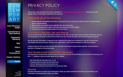 Screenshot of Privacy Page contemporaryproductions.com - Privacy Policy - Contemporary Productions - captured Oct. 3, 2014