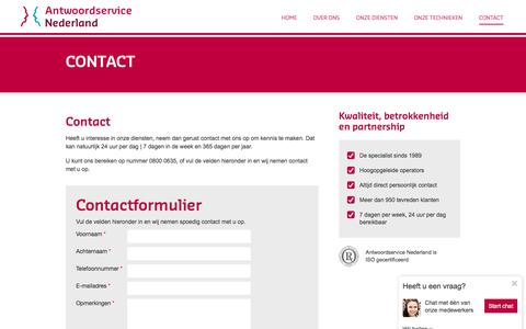 Screenshot of Contact Page antwoordservice.nl - Contact   ASN - captured Nov. 21, 2016