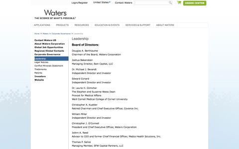 Screenshot of Team Page waters.com - Leadership : Waters - captured March 7, 2017