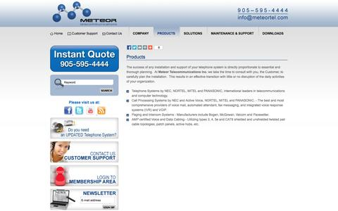 Screenshot of Products Page meteortel.com - Meteor Telecommunications Products, Contact Center, Call Recording Solutions - Greater Toronto Area - captured Oct. 27, 2014