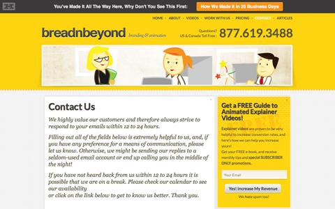 Screenshot of Contact Page breadnbeyond.com - Contact | Bread n' beyond - captured Sept. 19, 2014