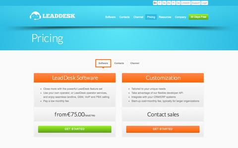 Screenshot of Pricing Page leaddesk.com - Pricing | LeadDesk | Low cost call center and telesales software - captured Sept. 19, 2014