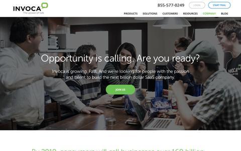 Screenshot of Jobs Page invoca.com - Invoca careers - captured Dec. 7, 2015