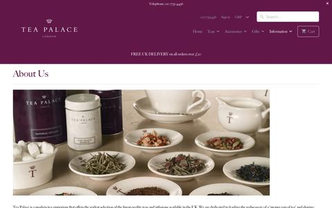 Screenshot of About Page teapalace.co.uk - About Us - Tea Palace - captured Dec. 6, 2016