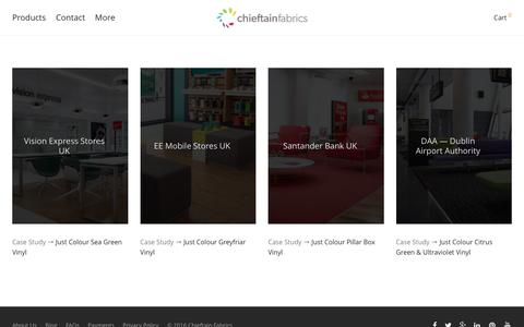Screenshot of Case Studies Page chieftainfabrics.com - Case Studies – Chieftain Fabrics - captured July 13, 2016