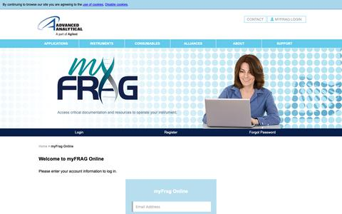 Screenshot of Login Page aati-us.com - myFRAG Online - Advanced Analytical Technologies, Inc. (AATI) - captured Oct. 3, 2018