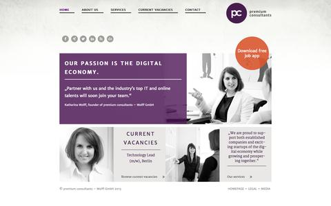 Screenshot of Home Page premium-consultants.net - Home Recruiting und Inhouse HR Consulting - captured Oct. 12, 2015