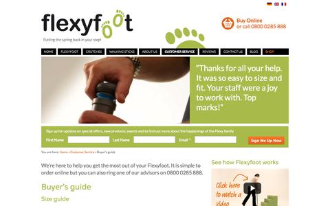 Screenshot of Support Page flexyfoot.com - Flexyfoot Ferrules Buying Guide - how to size the ferrules you need - captured Oct. 6, 2014