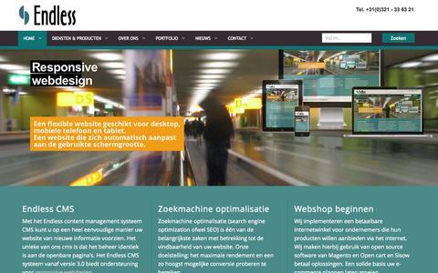 Screenshot of Home Page endlesscms.nl - Webdesign bureau Endless Dronten reclame, internet en marketing - captured Oct. 2, 2014