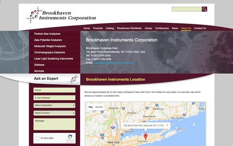 Screenshot of Maps & Directions Page brookhaveninstruments.com - Find Our Main Factory | Holtsville, NY | Brookhaven Instruments - captured July 30, 2016