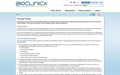 Screenshot of Privacy Page bioclinica.com - Privacy Policy | BioClinica - captured June 16, 2015