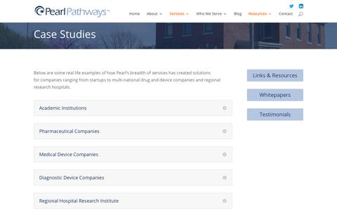 Screenshot of Case Studies Page pearlpathways.com - Case Studies   Life Science Services   Product Development   Pearl Pathways - captured July 16, 2018