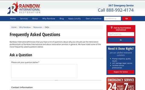 Screenshot of FAQ Page rainbowintl.com - Frequently Asked Questions | Rainbow International - captured March 24, 2017