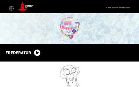 Screenshot of Home Page frederator.com - Home - Frederator - captured Sept. 29, 2018