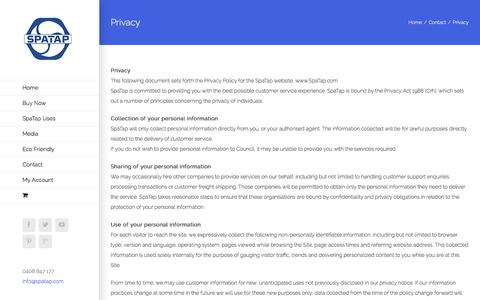 Screenshot of Privacy Page spatap.com - Privacy - SpaTap Camp Shower - captured Jan. 12, 2016